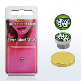 Faux piercing magnétique aimanté logo dés casino adaptable au nez au labret et aux oreilles
