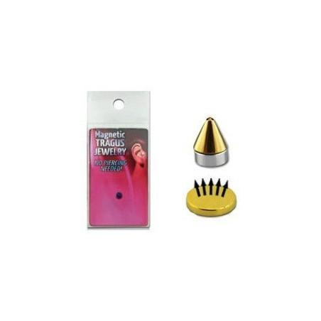 Faux piercing aimenté magnétique Spike pointe titane Doré