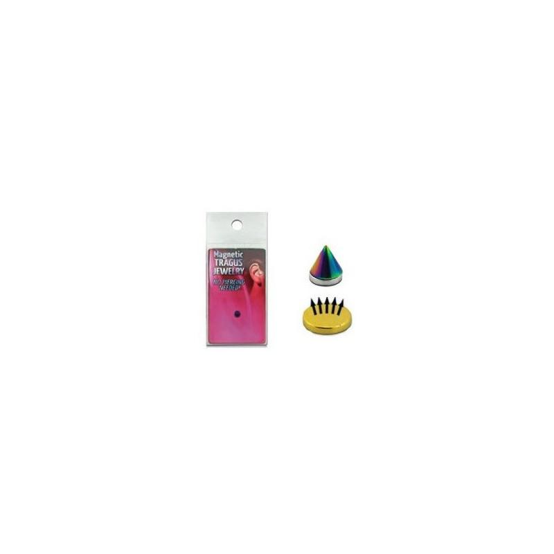 Faux piercing magnétique Spike couleur Fioul adaptable au nez a la lèvre au labret et aux oreilles