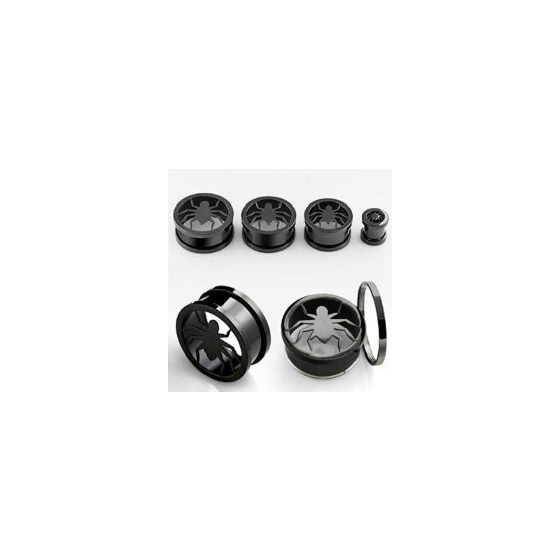 Piercing tunnel écarteur oreille motif Araigné en acier noir
