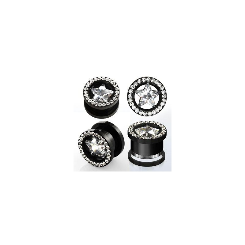 Piercing tunnel écarteur oreille motif étoile cristal en acier chirurgical couleur noir