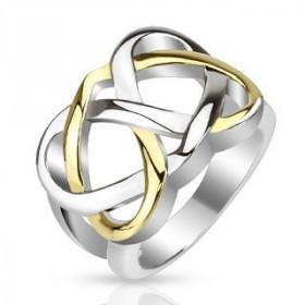 Bague celtique pour femme en acier inoxydable bicolor acier et or