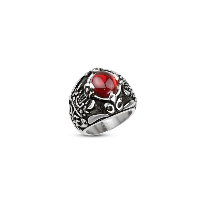 Bague chevaliere homme en Acier chirurgical inoxydable 316L symbole Couronne royale pierre rouge imitation rubis