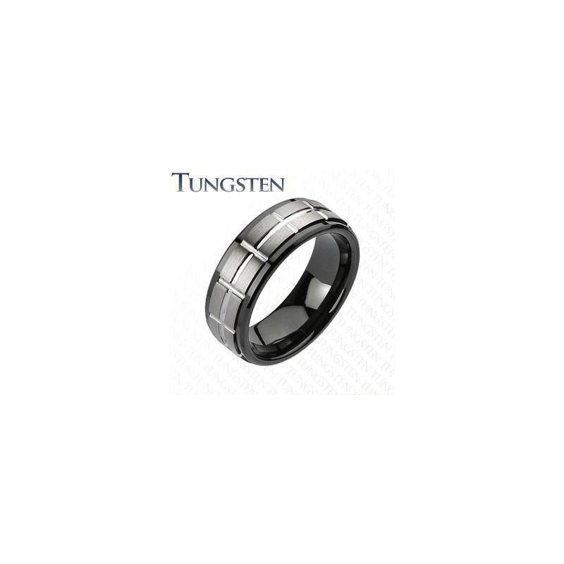 Bague anneau en tungsten noir pour homme bague haute resistance