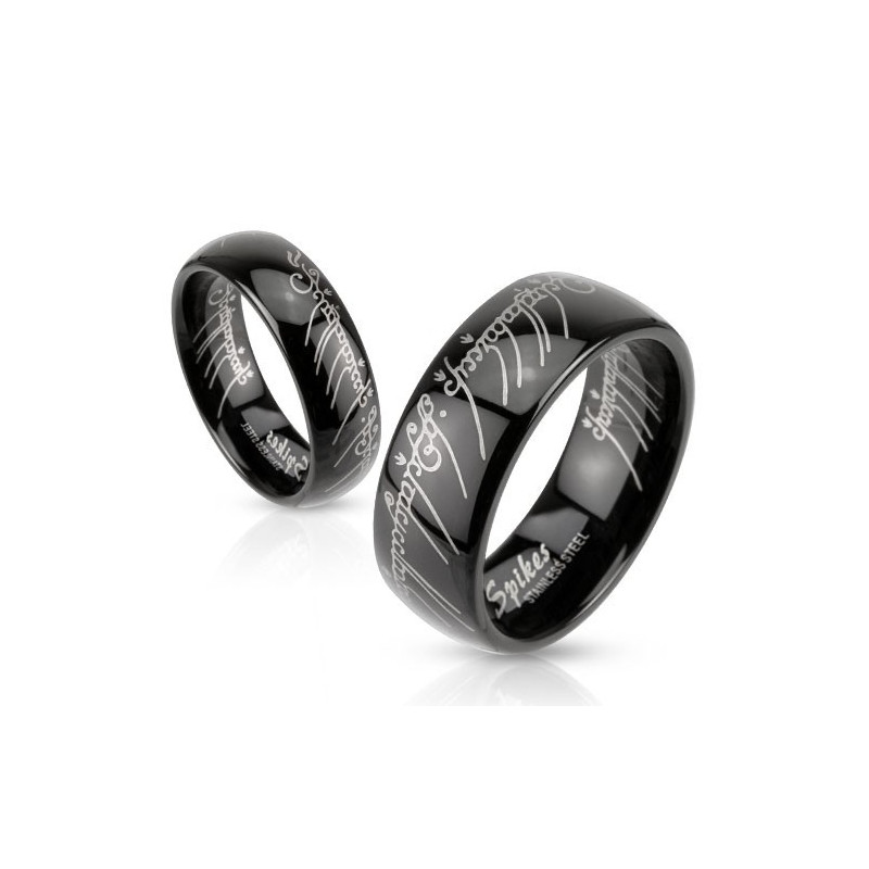 Bague en acier noir motif Elfique bague femme en acier noir inoxydable
