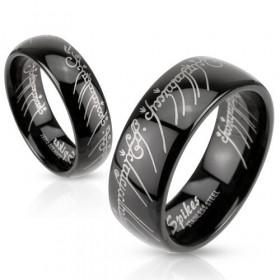 Bague Homme en acier noir motif Elfique bague en acier inoxydable noir seigneur des anneaux pour homme