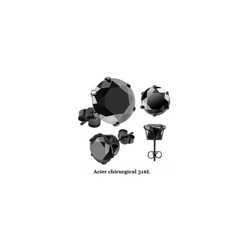 Boucles d'oreille homme acier chirurgical couleur noir cristal noir