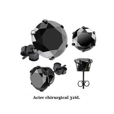 Boucles d'oreille acier noir cristal noir