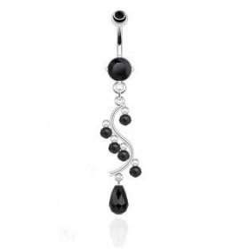Piercing nombril en acier chirurgical long pendant chandelier en cristal Noir