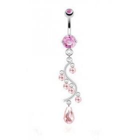 Piercing nombril long pendentif en acier chirurgical chandelier glamour en cristal rose