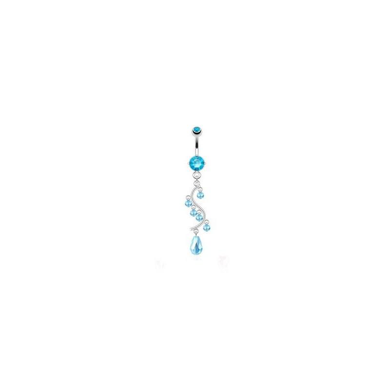 Piercing nombril en acier chirurgical long pendentif chandelier en cristal Bleu turquoise