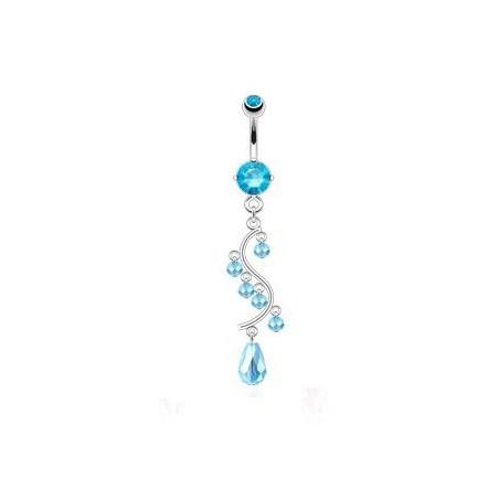 Piercing nombril chandelier Bleu