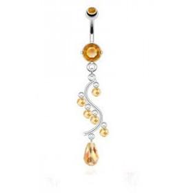 Piercing nombril en acier chirurgical chandelier couleur Taupaze jaune