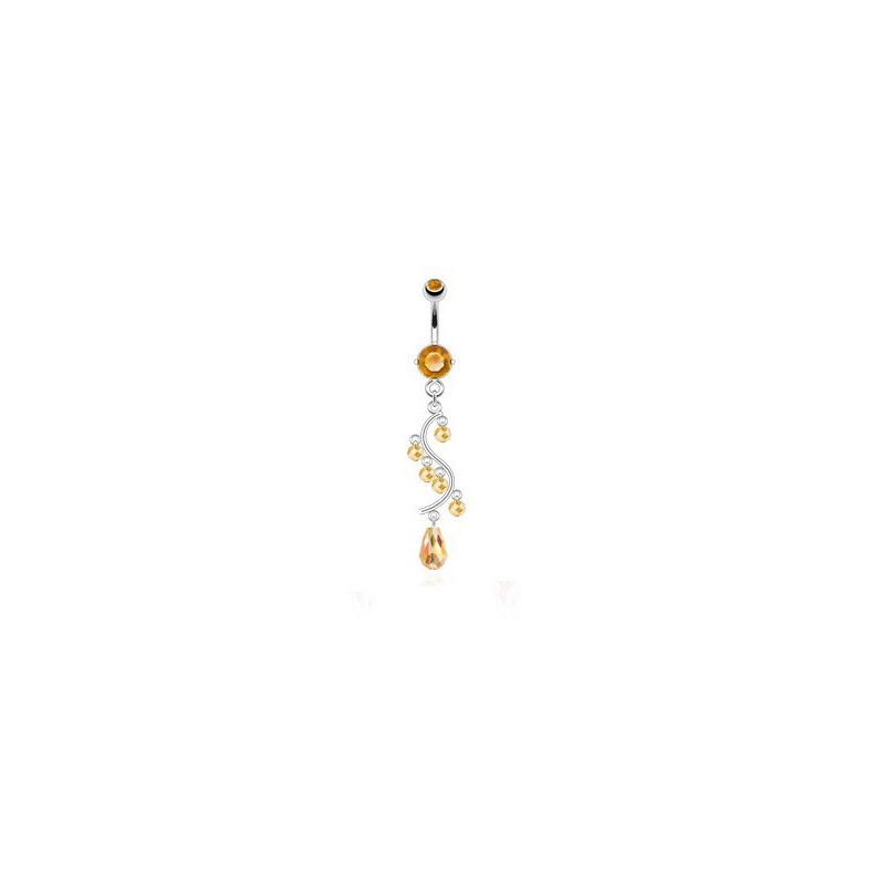 Piercing nombril en acier chirurgical chandelier couleur Taupaze jaune