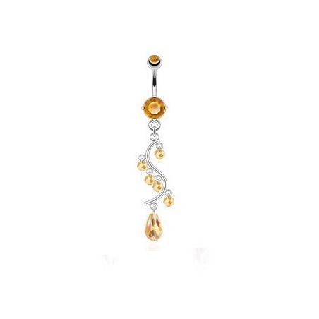 Piercing nombril pendentif chandelier Taupaze jaune