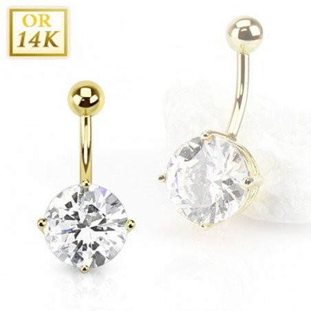 Piercing Nombril Solitaire Or 14 carats