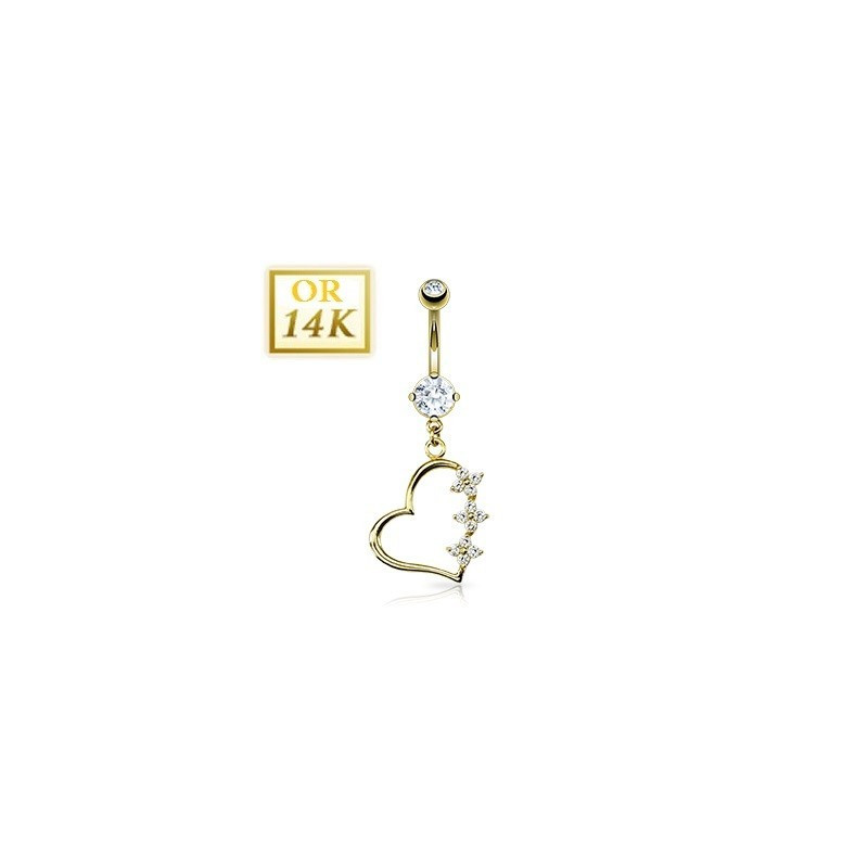Piercing nombril Coeur pendant or jaune 14 carats