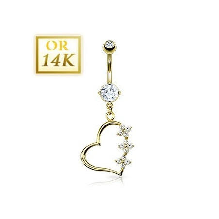 Piercing nombril Coeur pendant or jaune