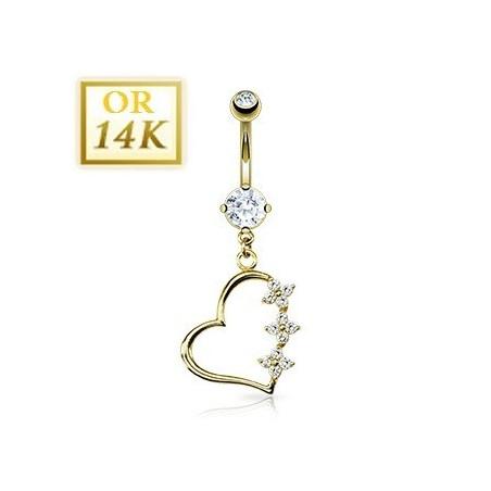Piercing nombril Coeur pendant or jaune