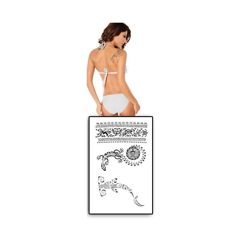 Tatouages temporairesrequin marteau Lezard Polynesiens
