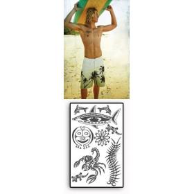 Tattoos temporaires Lezard dauphin tortue Maori Polynesiens