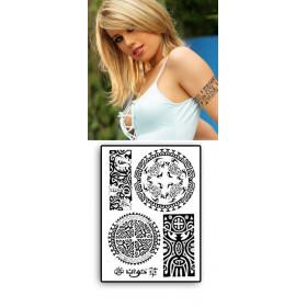 Tattoos temporaires Papillon Polynesiens Tiki Tortue