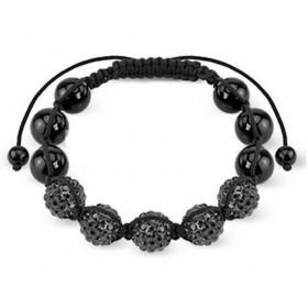 Bracelet noir 5 perle cristal noir et acier
