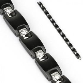 Bracelet pour homme homme acier noir et zirconium