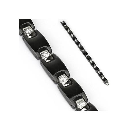 Bracelet homme acier noir et zirconium