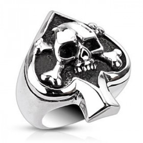 Bague acier inoxydable skull As de Pique tete de mort pour homme