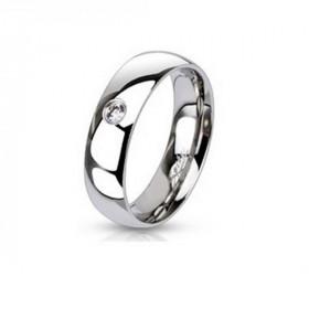Bague anneau simple pour femme acier inoxydable zirconium blanc