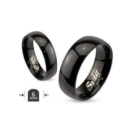 Bague anneau simple en acier noir