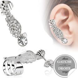 Boucle d'oreille Ailes d'ange cristal Blanc