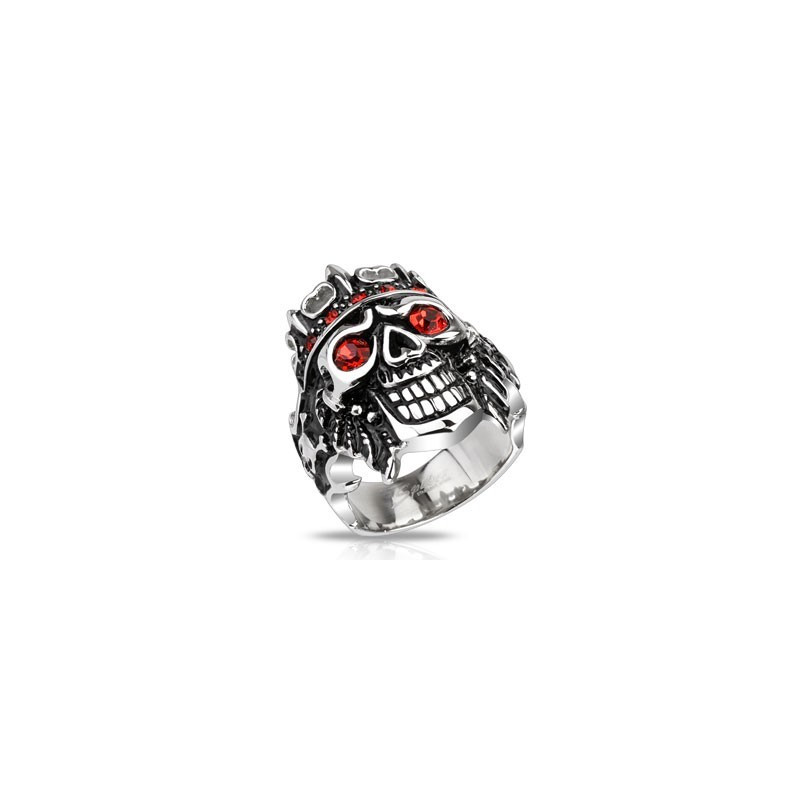 Bague chevalière homme acier inoxydable skull pirate rubis rouge