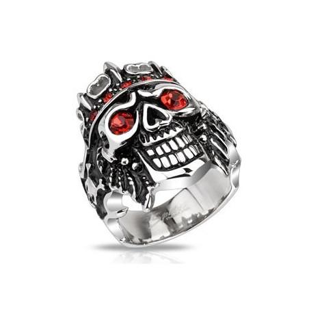 Bague chevalière homme acier inoxydable skull pirate rubis rouge