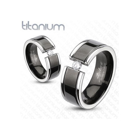 Bague anneau Homme Femme titane noir