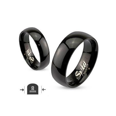 Bague anneau homme acier noir 8mm