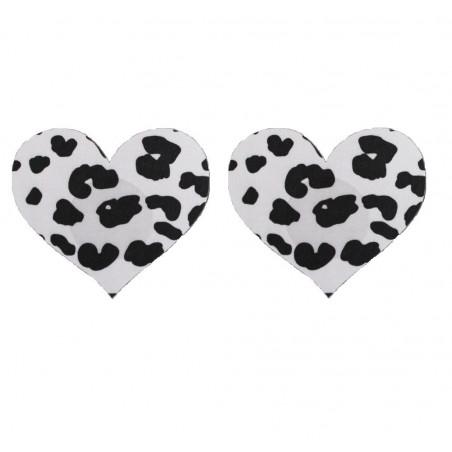Cache Téton coeur noir et blanc pack de 4