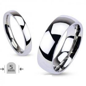 Bague Aliance 5mm en acier inoxydable bague anneau pour femme en acier polis de grande qualité
