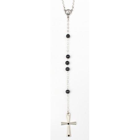 Chapelet noir bille bois croix acier