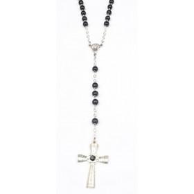 Chapelet mode en bois noir croix acier avec strass noir