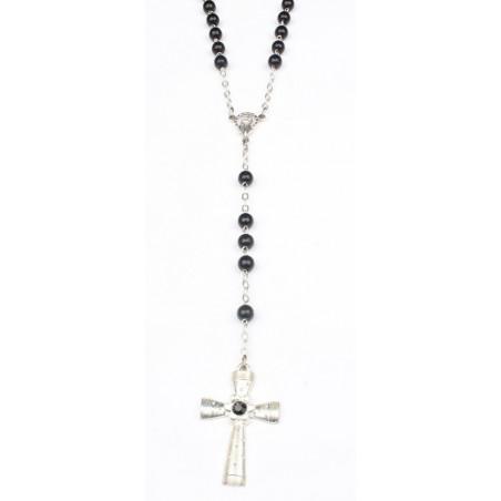 Chapelet rock en bois noir croix acier