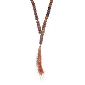 Collier chapelet Mala tibetin perle en bois naturel de couleur marron
