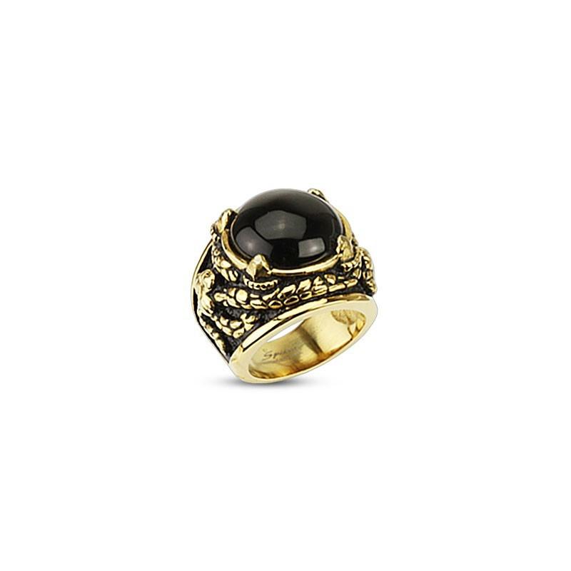 Bague homme pierre naturel Onyx motif Dragon acier inoxydable doré