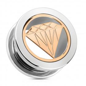 Piercing plug motif diamant en acier chirurgical couleur or rose