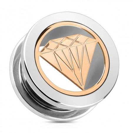 Piercing plug diamant acier or rose