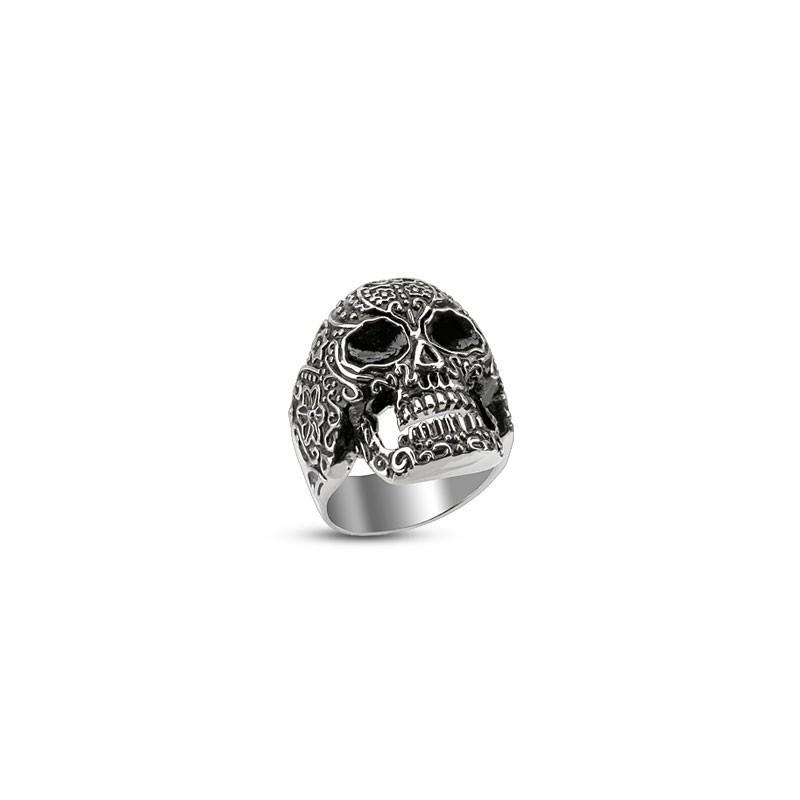 Bague homme skull tête de mort motif sculpté en acier inoxydable de qualité