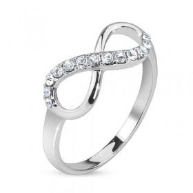 Bague fine forme anneau pour femme symbole Infini cristal et acier