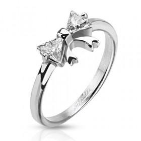 Bague anneau en acier inoxydable pour femme motif noeud cristal blanc