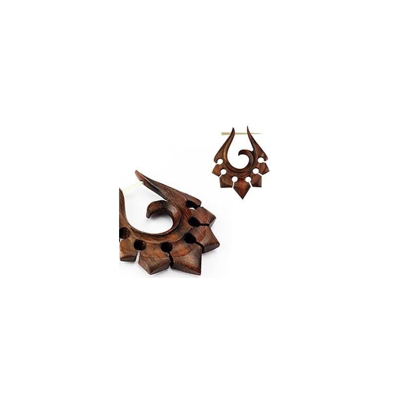 Boucles d'oreille hetnique pour femme motif tribal en bois naturel couleur marron
